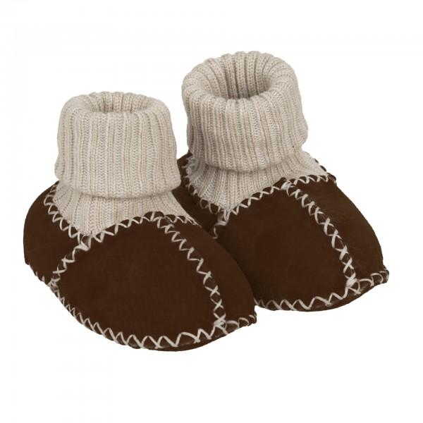 Babyschuhe mit Strickbund aus Lammfell